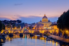 Famous citiscape view of St Peters basilica in Rome at sunset (altextravel) Tags: ancient cathedral church city cityscape europe european history italian italy old panorama view architecture attraction basilica blue bridge building catholic dome exterior famous holiday italia jesus landscape monument ponte religion roma rome saint tourist travel vatican wallpaper lazio it