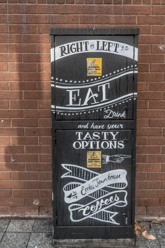 REVIEW YOUR OPTIONS ON DORSET STREET [IS THIS STREET ART OR IS IT AN ADVERTISEMENT]