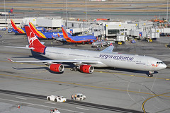 G-VWIN (Rich Snyder--Jetarazzi Photography) Tags: virginatlanticairways virginatlantic virgin vir vs airbus a340 a340600 a340642 a346 gvwin ladyluck departure departing sanfranciscointernationalairport sfo ksfo millbrae california ca airplane airliner aircraft jet plane jetliner ramptowera rcta atower
