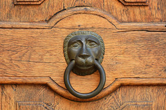 D71_0156A (vkalivoda) Tags: details klepadlo doorknocker doors dveře detail smallobjects wood leo lev hlava circle metal türbeschläge