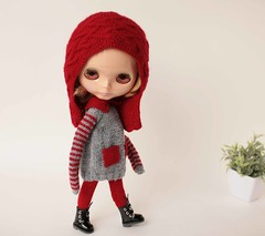 Red hat Blythe set, Hand knitted red helmet, Gray dress and Red high socks for Blythe doll, blythe clothes, Doll outfit, Blythe costume