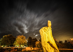 moon , clouds and birds (I was blind now I see!) Tags: statue trees birds crow owl treestump longexposure royston hertfordshire clouds night nightphotography dramatic bold experimental sky skyscape