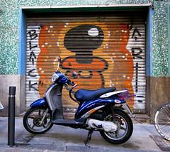 Blue Bike / Black Art: Gràcia, Barcelona (Spencer Means) Tags: door doorway iron corrugated mural painting black art bike cycle blue street gràcia barcelona catalonia spain catalunya