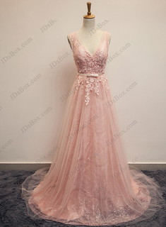 PD16016 Pink blush v neckline tulle long prom evening dress with bling
