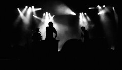 """Chausse Tes Tongs 2017"" (The Blue Water Lily's Company) Tags: fdrouet nb bw monochrome monochrom film analog kodak nikon musicien musician saxmachine concert chaussetestongs festival bretagne brittany"