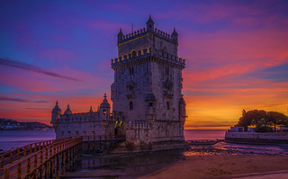 The Belém Tower at Sunset (Luminosity Masks)
