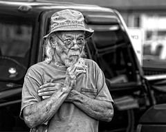 Downtown Dude (Jim-Mooney) Tags: bw black white blackwhite blackandwhite mono monochrome monotone streetphotography people portrait fuji xt2 fujinon50140mm kansascity candid