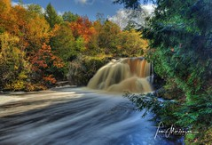 Interstate Falls (Tom Mortenson) Tags: canon canon6d canoneos hurleywisconsin wisconsinmichiganborder ironwoodmichigan gogebiccounty ironcounty uppermichigan wisconsin interstatefalls falls longexposure scenery scenic geotagged autumn fall 1740l nature landscape color fallcolors colour flowingwater hdr photomatix tonemapping northwoods northernwisconsin