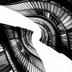 City Hall - London Architecture Abstract by Simon Hadleigh-Sparks (Thankyou All For Over 13 Million Views) (Simon & His Camera) Tags: distorted abstract architecture blackandwhite black white lookingup curve window building bw city contrast composition conceptual geometric iconic london lines monochrome office pattern simonandhiscamera urban vertical