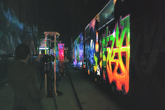 Disturbing Graffiti at Nuit Blanche Toronto 2017 (A Great Capture) Tags: studio f minus artist mitchell chan brad hindson graffiti alley illuminate agreatcapture agc wwwagreatcapturecom adjm ash2276 ashleylduffus ald mobilejay jamesmitchell toronto on ontario canada canadian photographer northamerica torontoexplore city downtown lights urban night dark nighttime colours colors colourful colorful cityscape urbanscape outdoor outdoors vibrant cheerful vivid bright design streetphotography streetscape street calle streetart