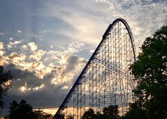 The 1st Hill (Mahalograph Photography) Tags: clouds sunset autumn sky amusements rollercoasters