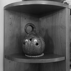 Garlic Keeper - with Eyes (btusdin) Tags: 7daysofshooting week16 shelfshelves blackandwhitewednesday