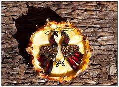 love birds (Leonard J Matthews) Tags: facetoface 2 two fruit pineapple jewels birds earrings lovebirds wicker weave shadow australia mythoto jewellery