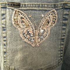 pocket56- butterfly (muffett68 ☺ heidi ☺) Tags: denim jeans 100pockets embroidered sequins butterfly