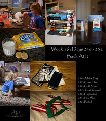 Week 36 - Back At It (Angela Weirauch Photography) Tags: canon canon6d 6d prime 50mm 365 project365 project taekwondo belts girl books tea book read reading phone cell case cookies milk oreos breakfast