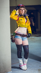 SP_67764-2 (Patcave) Tags: saturday dragon con dragoncon 2017 dragoncon2017 cosplay cosplayer cosplayers costume costumers costumes shot comics comic book scifi fantasy movie film cindy arum final xv videogame square enix yellow jacket red hat cutoff jeans mechanic