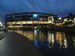 National Indoor Arena, Birmingham (Manoo Mistry) Tags: arena birminghamindoorarena nikon nikoncoolpixl120 nightscene night birmingham birminghampostandmail birminghamuk westmidlands water canal