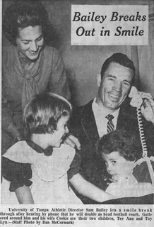 U of Tampa Head Coach Sam Bailey breaks out in smile in 1964