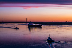 The Day Starts in the Harbour (langdon10) Tags: atsea canada canon70d montreal navigation quebec ship shoreline stlawrenceriver tanker boats morning morninglight nautical outdoors sunrise