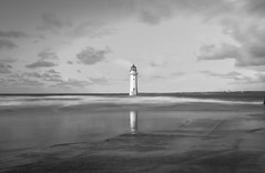 reflections of perch rock (paul hitchmough photography 2) Tags: landscape seascape lighthouse longexposure moody blackandwhite bw monochrome water rivermersey sea uk wirral newbrighton paulhitchmoughphotography nikond800 nikonphotograhy wideangle leefilters bigstopper tenstop beach sky