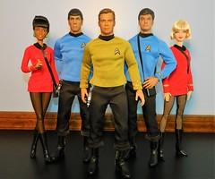 The crew of the USS Enterprise......so far. (Pablo Pacheco 85) Tags: mattel jamestkirk spock leonardmccoy startrek barbie qmx midge williamshatner leonardnimoy deforestkelley nichellenichols ussenterprise