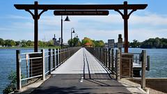Trestle Trail Bridge III (Jay Janssen) Tags: neenah menasha wisconsin trestle trail bridge fox river old railroad pier boat wood sky