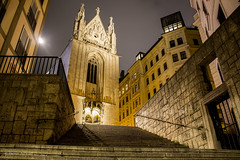 A night shot of the Catholic Church Maria am Gestade, Vienna, Austria (Aethelweard) Tags: vienna church beautiful scenic atmospheric oldchurch night nightshot lighting colourful colorful building historicbuilding historic history old austrian stunning