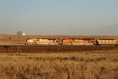 Windmill and BNSF SD70ACe's  Nothing Better (kschmidt626) Tags: powder river coal train wyoming bnsf union pacific sunset sunrise tier 4