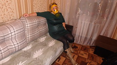 PA290092 (Axelweb) Tags: chubby bbw girl lady female rainwear raincoat pvc shiny wellies rubber boots gas mask plastenky holinky rainsuit rain suit plastic wellington gumboots galoshes gummi gasmask