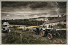 Rural Bus Service (brian_stoddart) Tags: rural bus trains tractor house countryside sky clouds