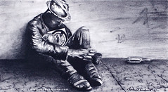 Brother can you Spare a Dollar? _ 00008901 (SweetBippie) Tags: figurative illustration charcoal board homeless bum beggar panhandler beg poor 99 hat penny alcohol chronic destitute despair hungry realistic emotive emotion faceless hunger monochrome blackandwhite drawing panhandle