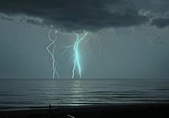 Dance Partners (lightonthewater) Tags: kittyhawknc northcarolina storm lightning lightonthewater ocean atlanticocean thunderstorm waves water