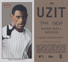 2002 / 2003 - Topps 206 Mini Baseball Card / Series 3 / Uzit - SAMMY SOSA #340B (White) (Outfield) (Chicago Cubs) (Baseball Autographs Football Coins) Tags: series3 2002 2003 topps 206 topps206 uzit mini card minicard baseballcard 2002topps206 sammysosa chicagocubs oufield