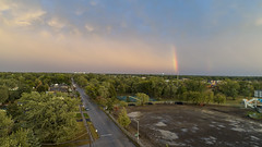 Colorful sky, rainbow - drone Photos after the rain (Rick Drew - 19 million views!) Tags: oaklawn il illinois centennial park facelift construction cook county trees forest grove playground grass field ballpark fence heavy equipment dji drone phantom4pro p4p rainbow rain storm puddles reflection colors street road lights horizon