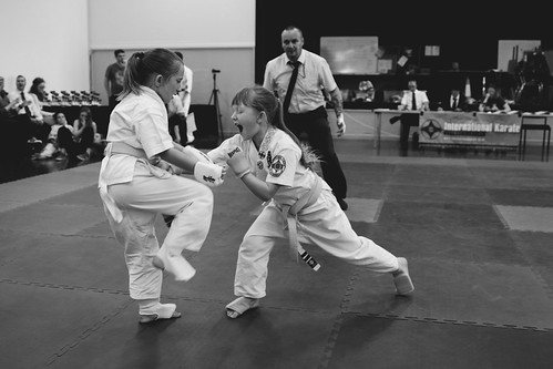 Image of two girls performing martial arts