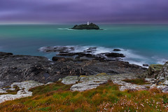 Godrevy Lighthouse in 25 seconds (snowyturner) Tags: lighthouse sea sky twilight grass longexposure cliffs godrevy gwithian cornwall rocks clouds wavecut colourful autumn bay