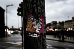 Apes with guns KILL! (De Búrca Photography) Tags: metal corkcity city streets streetphotography pole sticker bokeh streetart canon canonm3 photography blue apes 7dwf
