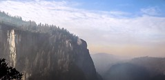 A Smouldering Yosemite (Bokehneer) Tags: yosemite nationalpark wilderness nature smoke haze cliffs mountains forest smokey hazy clouds horizon valley california panorama vista rocks formation famous