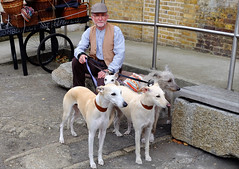 Man with The four greyhounds (claude 22) Tags: chatham uk england british museum naval maritime heritage historic kent dockyard royal navy victorian angleterre dockyars portrait vintage festival salutetothe40s chiens dogs fuji fujinon xt1 18135mm fujifilm lévriers greyhounds claude22b musée