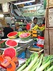 Watermelon, Bananas, and Leeks (AntyDiluvian) Tags: israel trip tour jerusalem market marketplace machaneyehuda eitzhachaimstreet foodstands shops bars restaurants crowds vendor fruitstand fruit vegetables watermelon bananas leeks