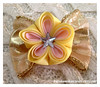 Twinkle Twinkle (Kurokami) Tags: toronto ontario canada kimono japan japanese asia asian woman women girl girls lady ladies traditional kitsuke tsumami kanzashi hair ornament clip barrette twinkle star plum blossom flower flowers floral blossoms folded yellow pink bow