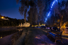 The Riverbank (Roger.C) Tags: chepstow monmouthshire riverwye river riverbank water trees dusk night bluehour thebluehour bench leaves lights illuminated evening nightshot wales walesnikon southwales wfc nikon d610 20mm primelens cliffs path