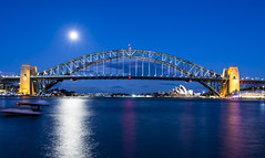 full moon (Greg Rohan) Tags: sydneyoperahouse operahouse ocean sydneyharbour sydneyharbourbridge sydney bridge moon sky water sea nights nightphotography bluehour blue d7200 2017 arch