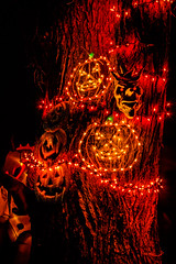 Jack-O-Lantern Demon Tree (juliewooden) Tags: autumn blackcats dark event fall ghost ghouls halloween hebron jackolanterndemontree jackolanterns landscape monsters nature nighttime northdakota outdoors scenery spooky tree witches