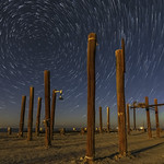 Star Trails Above Pilings at the Remains of the Salton Sea Navy Test Base thumbnail