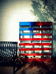 Born in the U.S.A. (Fraser Mummery) Tags: shadow wood pallet blue white red wall bench belmar newjersey nj unitedstates us america usa