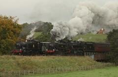 Goathland departure (feroequineologist) Tags: 5519 1501 45212 nymr northyorkshiremoorsrailway railway train steam gwr lms goathland black5