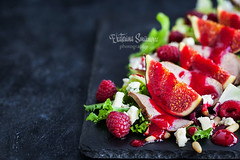 Delicious salad with fresh figs, duck meat and raspberry sauce (Katty-S) Tags: delicious gourmet salad fresh fig duck meat raspberry sauce dark recipe menu restaurant lunch dinner starter appetizer dish fruit berry red letucce cheese food