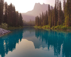 Morning rising (niallfritz) Tags: yohonp canada mountains forest trees water lake sunrise