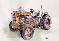 Le tracteur du pépé Marcel (m.JaKar) Tags: aquarelle croquis france feutre usk insitu rumilly tracteurancien urbansketchers